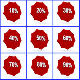 Percent icons. Or buttons ranging from 10% to 90 Stock Image
