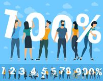 100 percent  illustration  warranty concept. 100 percent  illustration of young people insurance, guarantee, warranty concept.  Flat  design vector  symbol with Royalty Free Stock Image