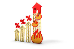 Percent increase burning house Stock Photos