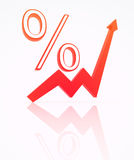 Percent from index. 3d illustration. Percentages go up Royalty Free Stock Photo