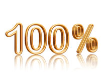 100 percent. Isolated 3d golden numbers with reflection Stock Photos