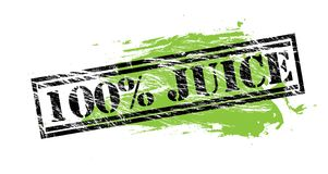 100 percent juice black and green stamp on white background. 100 percent juice black and green stamp Royalty Free Illustration