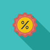 Percent label. Icon. Flat vector related icon with long shadow for web and mobile applications. It can be used as - logo, pictogram, icon, infographic element Stock Photography