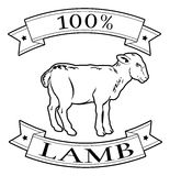 100 percent lamb food label. Lamb 100 percent label with lamb or sheep and reading 100 percent lamb Royalty Free Stock Photos