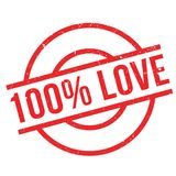 100 percent love rubber stamp. Grunge design with dust scratches. Effects can be easily removed for a clean, crisp look. Color is easily changed Vector Illustration