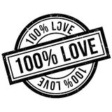 100 percent love rubber stamp. Grunge design with dust scratches. Effects can be easily removed for a clean, crisp look. Color is easily changed Royalty Free Illustration