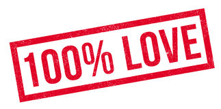 100 percent love rubber stamp. Grunge design with dust scratches. Effects can be easily removed for a clean, crisp look. Color is easily changed Stock Illustration