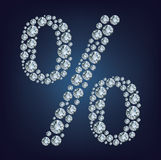 Percent made from diamonds. Percent made from  a lot of diamonds Royalty Free Stock Photos
