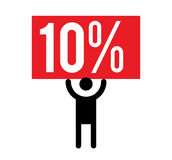 10 Percent and Man Icon. Concept Design Royalty Free Stock Photography