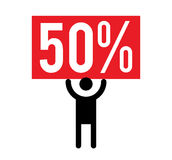 50 Percent and Man Icon Royalty Free Stock Photos