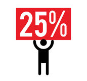 25 Percent and Man Icon Royalty Free Stock Images