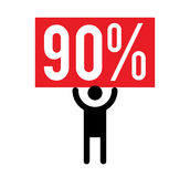 90 Percent and Man Icon. Concept Design royalty free illustration