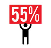 55 Percent and Man Icon. Concept Design Royalty Free Stock Image