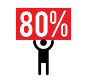 80 Percent and Man Icon. Concept Design Royalty Free Stock Photos