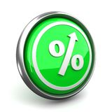 Percent mark icon. The green sign on percent designating increase royalty free illustration