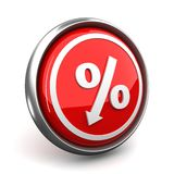 Percent mark icon. Red percent sign icon denoting a decrease royalty free illustration