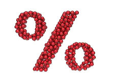 Percent mark made of Christmas balls. Percent mark made of red, shiny Christmas balls with gold caps. Isolated on a white background royalty free illustration