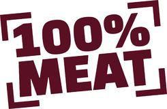 100 percent meat stamp. Vector Stock Photo