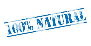 100 percent natural Blue stamp Royalty Free Stock Image