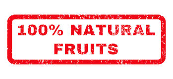100 Percent Natural Fruits Rubber Stamp. 100 Percent Natural Fruits text rubber seal stamp watermark. Caption inside rounded rectangular banner with grunge Stock Image