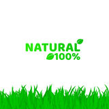 100 percent natural. Green, fresh grass on a white background. A place for your projects. Original text. Natural product. Vector i. Llustration. EPS 8 Stock Photo