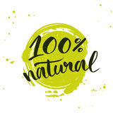 100 percent natural green lettering sticker with Royalty Free Stock Image