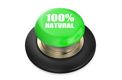 100 percent Natural green pushbutton. Isolated on white background Royalty Free Stock Photo
