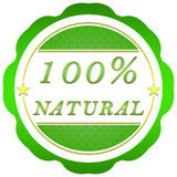 100 percent natural label. Decorative green label 100 percent natural with stars Royalty Free Stock Photography
