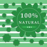 100 percent natural label. Decorative green label 100 percent natural on striped background vector illustration