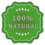 100 percent natural label. Green label 100 percent natural on a white background royalty free illustration