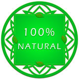 100 percent natural label. Green label 100 percent natural with leaflets Royalty Free Stock Image