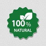 100 percent natural label. Vector illustration. 100 percent natural label. Vector stock illustration