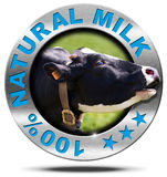 100 Percent Natural Milk- Metal Icon. Metallic round icon or symbol with head of cow and text 100 % natural milk. Isolated on white background Stock Photo