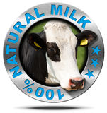 100 Percent Natural Milk- Metal Icon. Metallic round icon or symbol with head of cow and text 100 % natural milk. Isolated on white background Stock Images