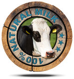 100 Percent Natural Milk- Wooden Icon Stock Photography