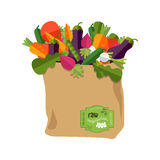 100 percent natural, organic on a paper bag. Paper bag with healthy foods, vegetables. Healthy organic natural food. Grocery delivery concept. Flat vector Stock Photos