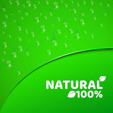 100 percent natural product. Green background, template for your projects. Realistic drops of water. Theme of vegetarianism. Round. Ed cut with text. Vector vector illustration