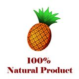 100 percent natural product a pineapple. On white background Stock Image