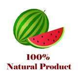 100 percent natural product watermelon. On white background vector illustration