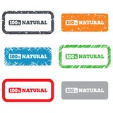 100 percent natural sign. Organic food symbol. Retro Stamps and Badges Stock Photography