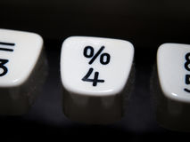 Percent and number four key on vintage typewriter Royalty Free Stock Image