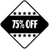 75 PERCENT OFF on black diamond shaped sticker label. Illustration Stock Illustration