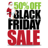 50 percent off black friday with half dressed small santa Royalty Free Stock Images