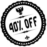 40 PERCENT OFF black stamp. Royalty Free Stock Photos