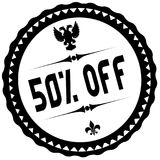 50 PERCENT OFF black stamp. Illustration graphic concept image Stock Photos