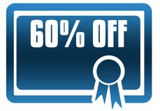 60 PERCENT OFF blue certificate. Royalty Free Stock Photography