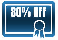 80 PERCENT OFF blue certificate. Illustration graphic image concept Stock Image