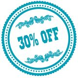 30 PERCENT OFF blue round stamp. Illustration image concept Stock Photo
