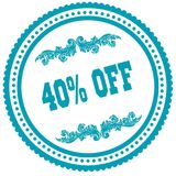 40 PERCENT OFF blue round stamp. Royalty Free Stock Images