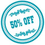 50 PERCENT OFF blue round stamp. Illustration image concept Stock Image